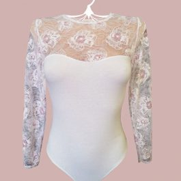 Боди 9106 Белый с розовым кружевом
